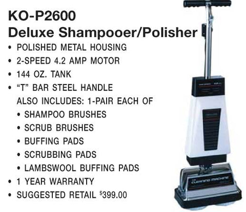 Koblenz Shampooer Polisher 144oz 2 Speed T Handle 4.2Amp Item # 00-2079-2