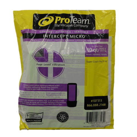 Proteam Paper Bag 10Qt Triangle Collar Supercoach Pro10 - Brilliant Vacuum