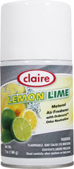 Claire Metered Aerosol Lemon Lime 7oz Item # 120 Case of 12 - Brilliant Vacuum