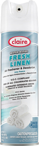Claire Air Freshener & Deodorizer Fresh Linen 20oz Item # 340 Case of 12 - Brilliant Vacuum