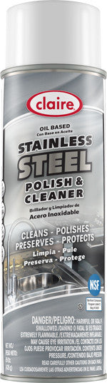 Claire Stainless Steel Polish & Cleaner Oil Based 20oz Item # 841 Case of 12 - Brilliant Vacuum
