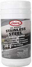 Claire Stainless Steel Cleaner Wipes Oil Based 40 Count Tub - Brilliant Vacuum