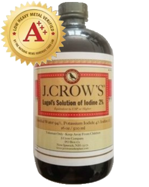 J.CROW'S® Lugol's Solution of Iodine 2% 16 oz Bottle