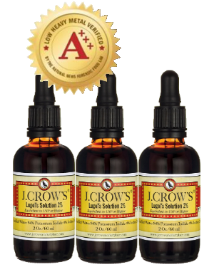 J.CROW'S® Lugol's Solution of Iodine 2% 2 oz Three Pack (3 bottles) $32.97 ($10.99 ea. bottle)