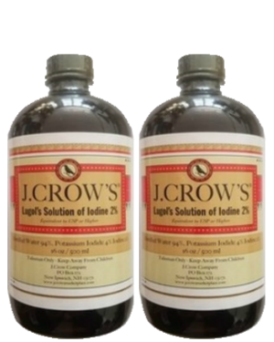 J.CROW'S® Lugol's Solution of Iodine 2% 16 oz Twin Pack (2 bottles) $139.90 ($69.95 ea. bottle)