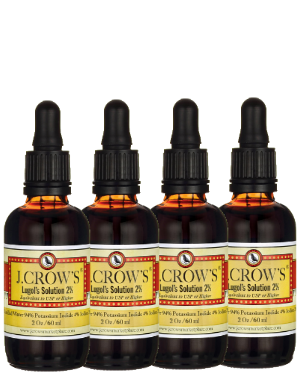 J.CROW'S® Lugol's Solution of Iodine 2% 2 oz Four Pack (4 bottles) $41.96 ($10.49 ea. bottle)