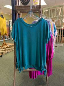 Blue Side Knotted Top