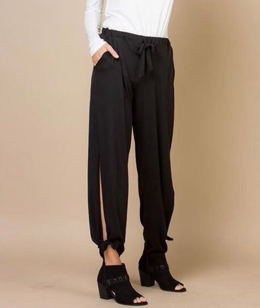 Black Side Knot Pants