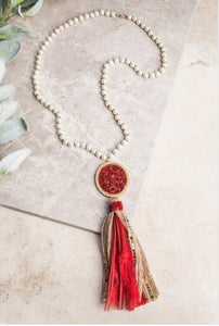 Red & Gold Tassel Necklace