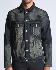 CRYSP BERING DENIM JACKET (BLACK RUST) - Village Mart