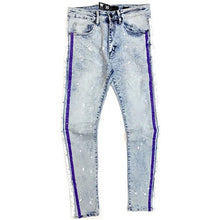 Waimea Jeans - Snow wash with purple and white stripes - Village Mart