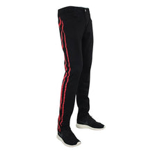 Waimea Skinny Fit Denim Track Pants Black-Red - Village Mart