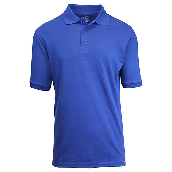 Men's Blue Short Sleeve Pique Polo Shirt