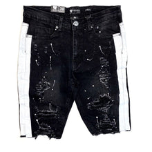 Waimea Jeans - Destroyed jean shorts with black and white stripe - Village Mart