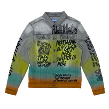 "8TH DSTRKT ""Cash Here"" Gradient Denim Jacket - Village Mart"