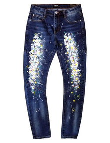 KLEEP Paint-Stressed Moto Skinny Jeans - Village Mart