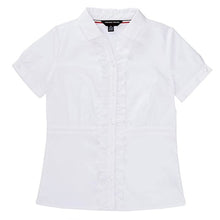 FRENCH TOAST Girls Short Sleeve Ruffled Front Cinch Waist Blouse Short-Sleeve Button Down Shirt