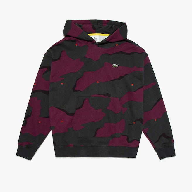 LACOSTE Men's LIVE Hooded Camo Print Fleece Sweatshirt