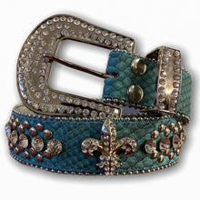 BIG BUCKLE BELT WITH SILVER STONES AND FLEUR DE LIS