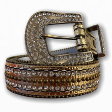 BIG BUCKLE GOLD BELT WITH SILVER STONES