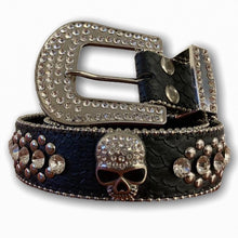 BIG BUCKLE BELT WITH SILVER STONES AND SKULL