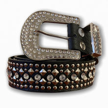 BIG BUCKLE BLACK BELT WITH SILVER STONES