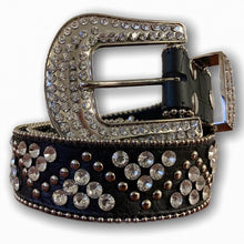 BIG BUCKLE BLACK WITH SILVER STONE BELTS
