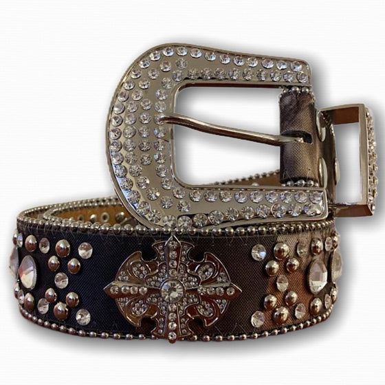 BIG BUCKLE CAMO STONE BELT WITH SILVER STONES AND CROSS