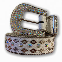 BIG BUCKLE WHITE BELT WITH SILVER STONES