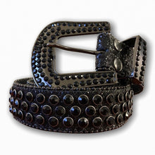 BIG BUCKLE JET BLACK BELT WITH BLACK STONES