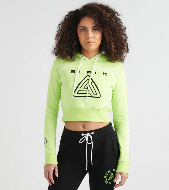 BLACK PYRAMID Zip Back Cropped Pyramid Logo Hoody