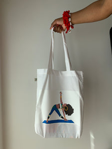 earth positive tote bag can be worn in hand or shoulder availble in black and white