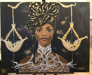 libra starsign, black woman libra zodiac signs, balancing scales, black woman, embroidered top, black woman in universe, space, stars, chloe & halle