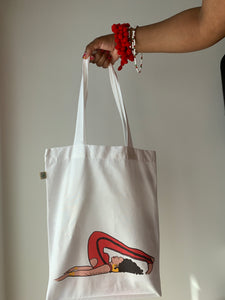 plow pose tote bag 100% cotton available in white can be worn in hand or on shoulder
