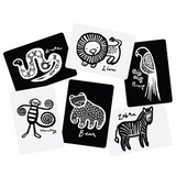 all jungle black white art cards for baby