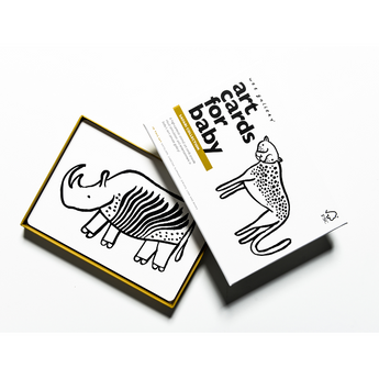 safari black white art cards for baby