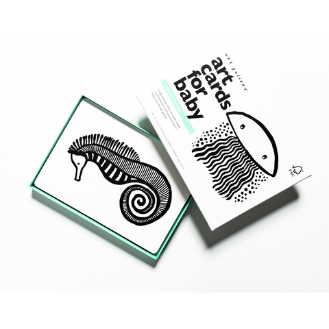 sea black white art cards for baby