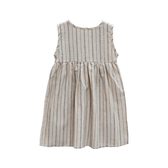 Sleeveless Prairie Dress, Natural Stripe