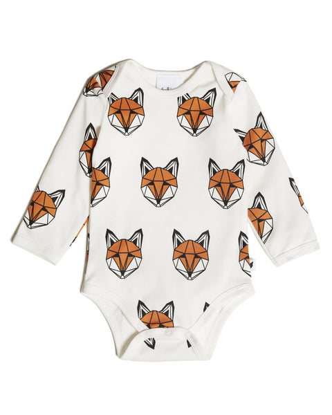 Just Call Me Fox Long-Sleeve Onesie, White