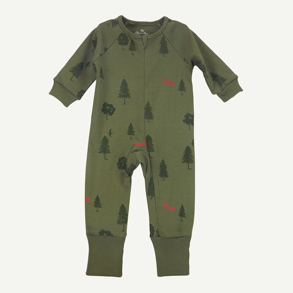 Green Tree Print Unionsuit