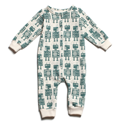 French Terry Jumpsuit - Robots Teal