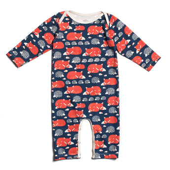 Long-Sleeve Romper - Foxes & Hedghogs, Navy/Orange