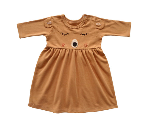 Long-sleeve Bear Dress, Ginger Brown