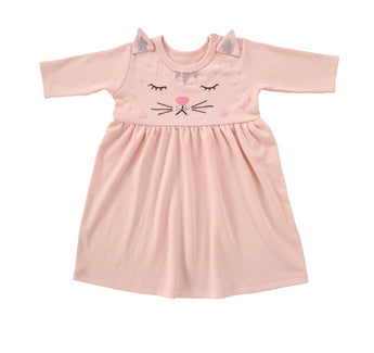 Long-sleeve Cat Dress, Rose Pink