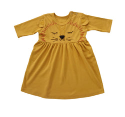 Long-sleeve Lion Dress, Mustard Yellow