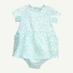 Water Drop Print Dress with Diaper Cover