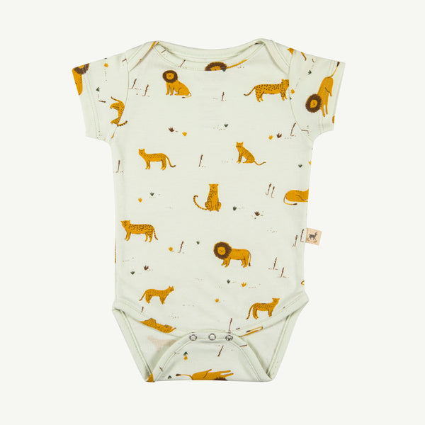 Big Cats Milky Green Short Sleeve Onesie