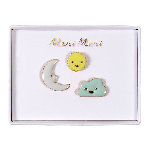 Sun, Moon, & Cloud Enamel Pins