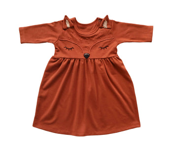 Long-sleeve Fox Dress, Rust Red