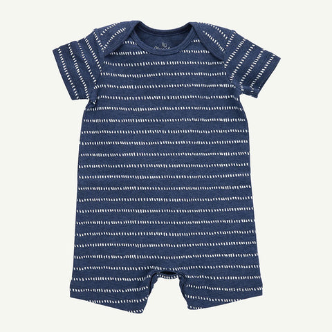 Navy Dash Stripe Romper